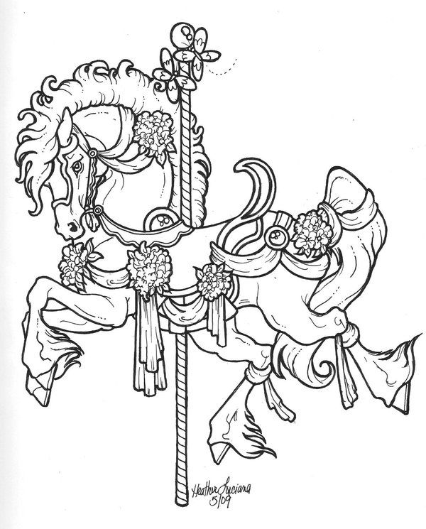 Carousel lineart by crimsoncavedragon leather for Carousel horse coloring page