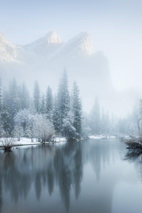 Yosemite winter fog, frost and snow landscape photograph photo print / metal print
