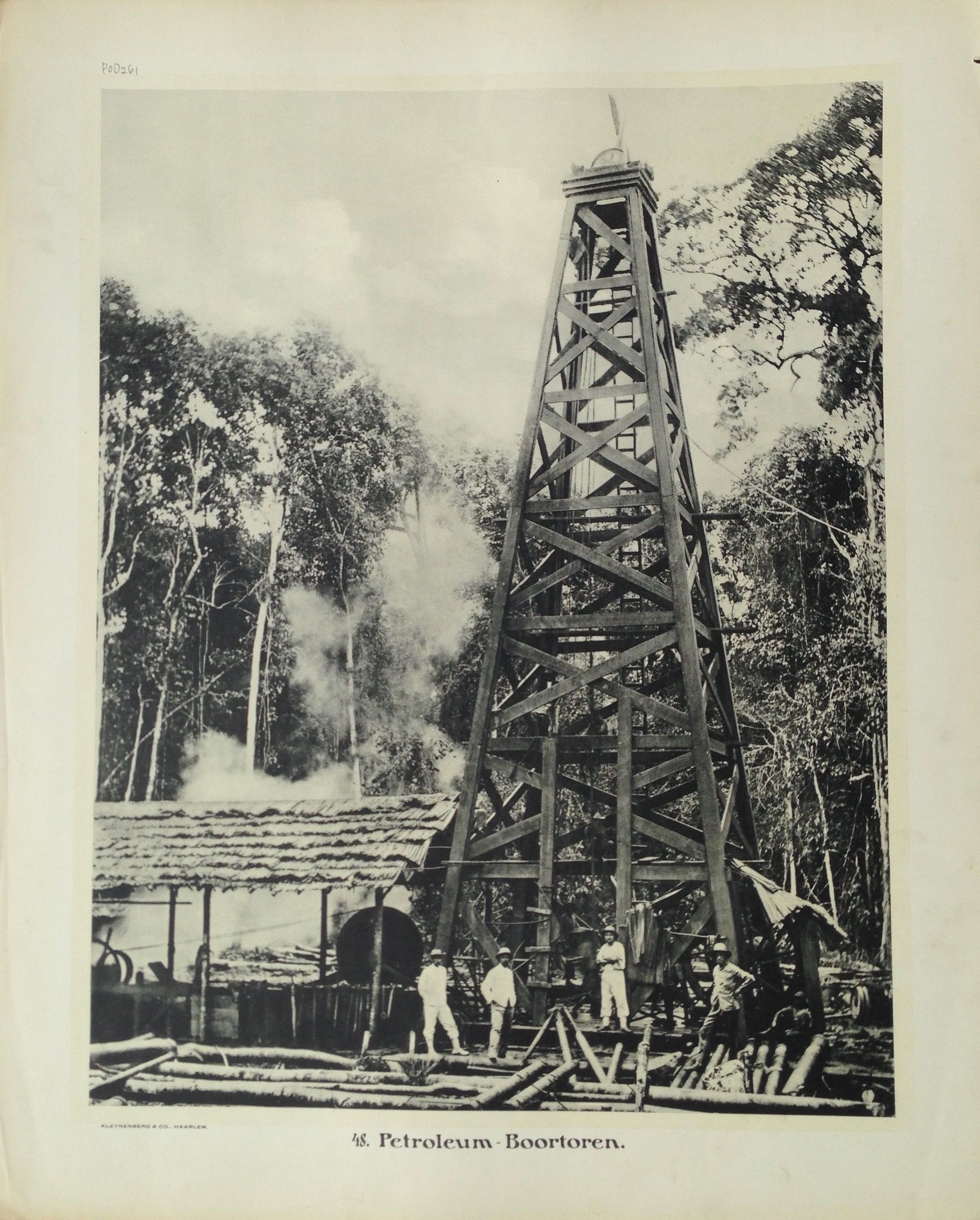 48. Petroleum – Boortoren. Antique school board of an Oil Drilling Rig, Borneo. Taken c.1895 and published between 1912 and 1914 in Holland. Oil was discovered in Indonesia in 1863 but commercial production did not begin...