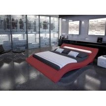 Lit Simili Cuir Rouge Avec Rampe Leds Lit Adulte Design - Lit adulte rouge