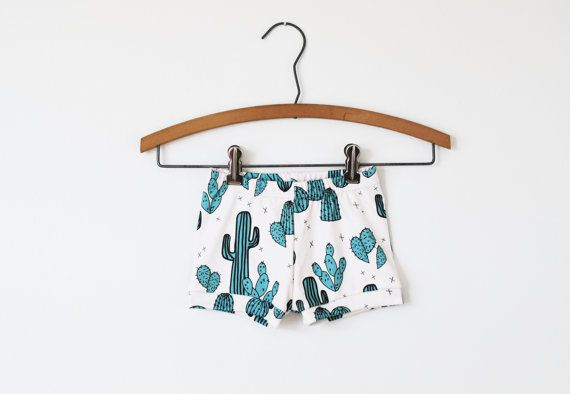 baby shorts in cactus print, Organic baby shorts, toddler shorts, baby clothes, organic toddler shorts, baby shorts