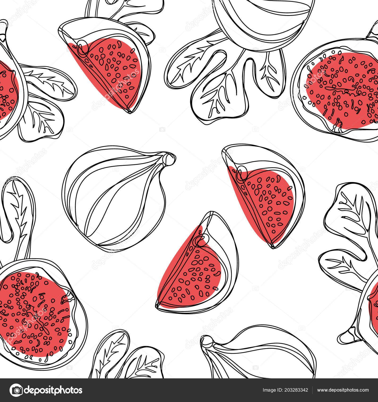 Patrón Sin Fisuras Higos Frescos Fruta Con Mitad Cuarto