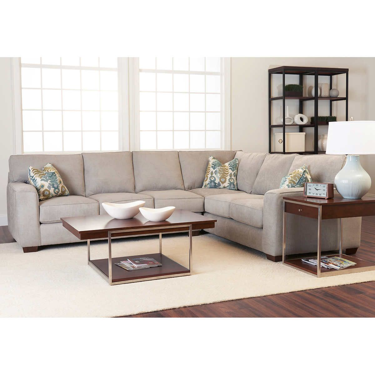 Leather Sofas Abbott Fabric Sectional GrayPolyester BlendLeft Facing Sofa Right Facing Corner Sofa with Coordinating PillowsSolid Hardwood Feet Finished In Brown