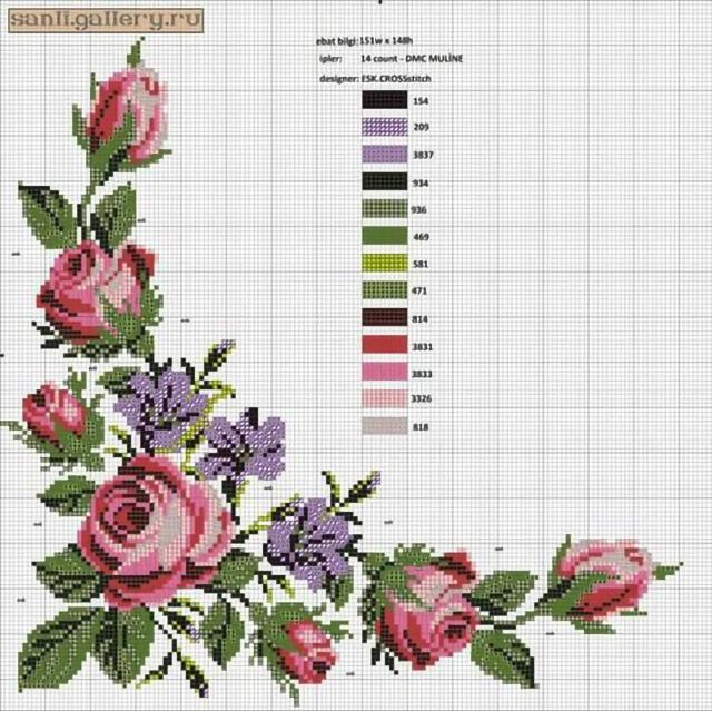 55 Gráficos de Flores em Ponto Cruz – Grátis para Baixar | Revista Artesanato