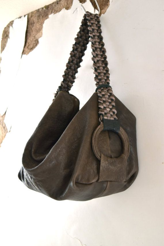 Brown Slouchy Soft Handbag With Leather Woven By Byloomandhyde
