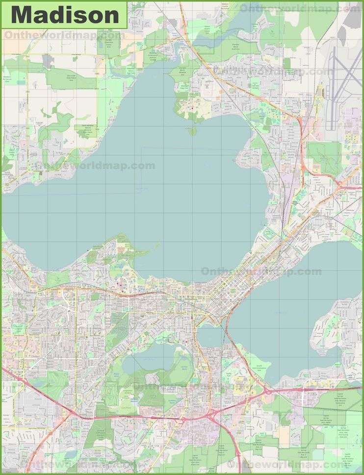 Large detailed map of Madison | Maps | Pinterest | Usa cities and City