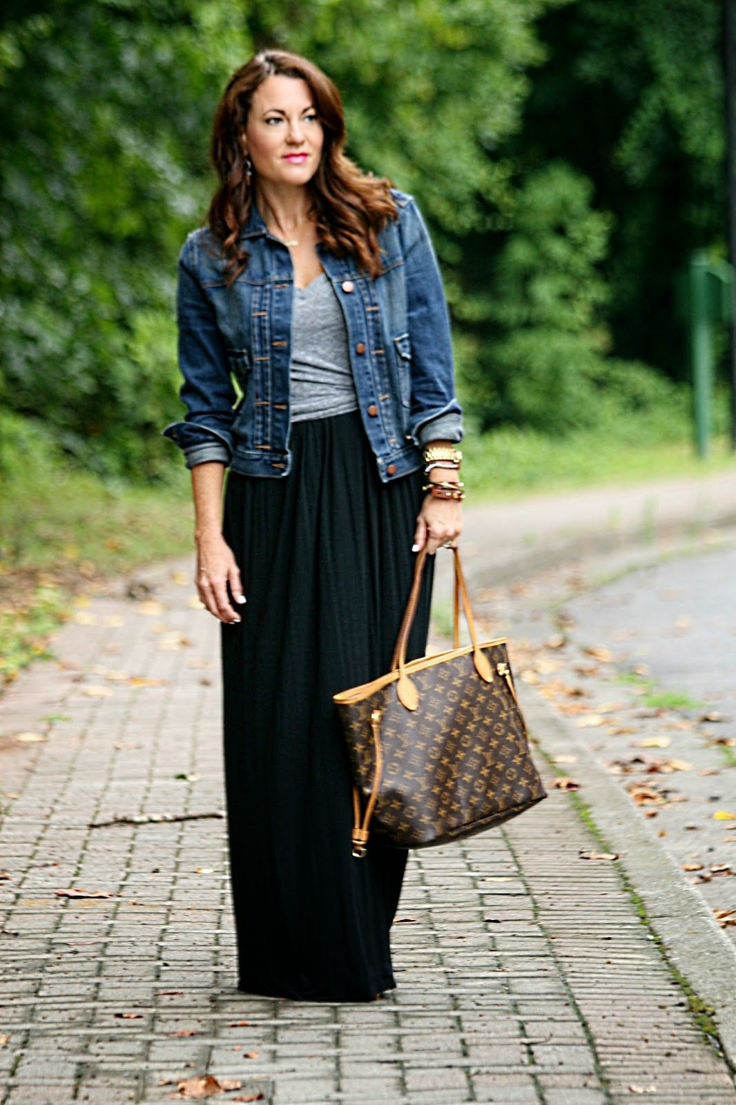 Black dress jean jacket - Gray T Shirt Denim Jacket Black Maxi Dress Casual Summer Look