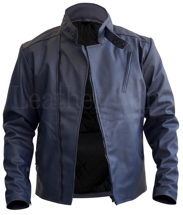 Mens Big And Tall Bluish Gray Faux Leather Jacket