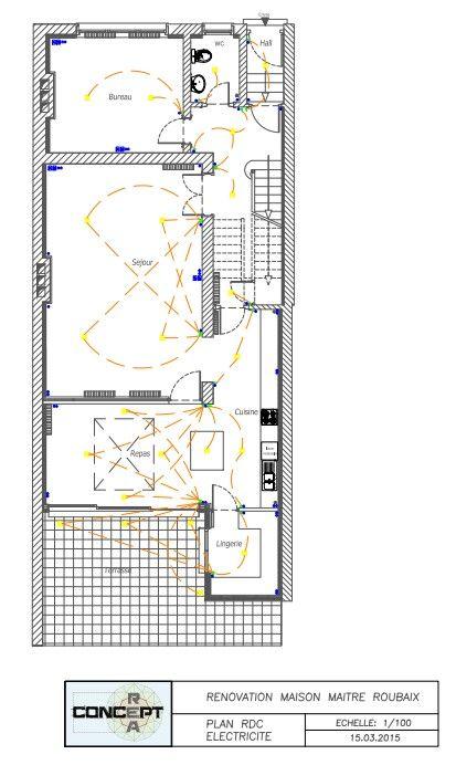 Nouveau plan électrique rdc DCE plan de rénovation sur roubaix - electricite dans une maison