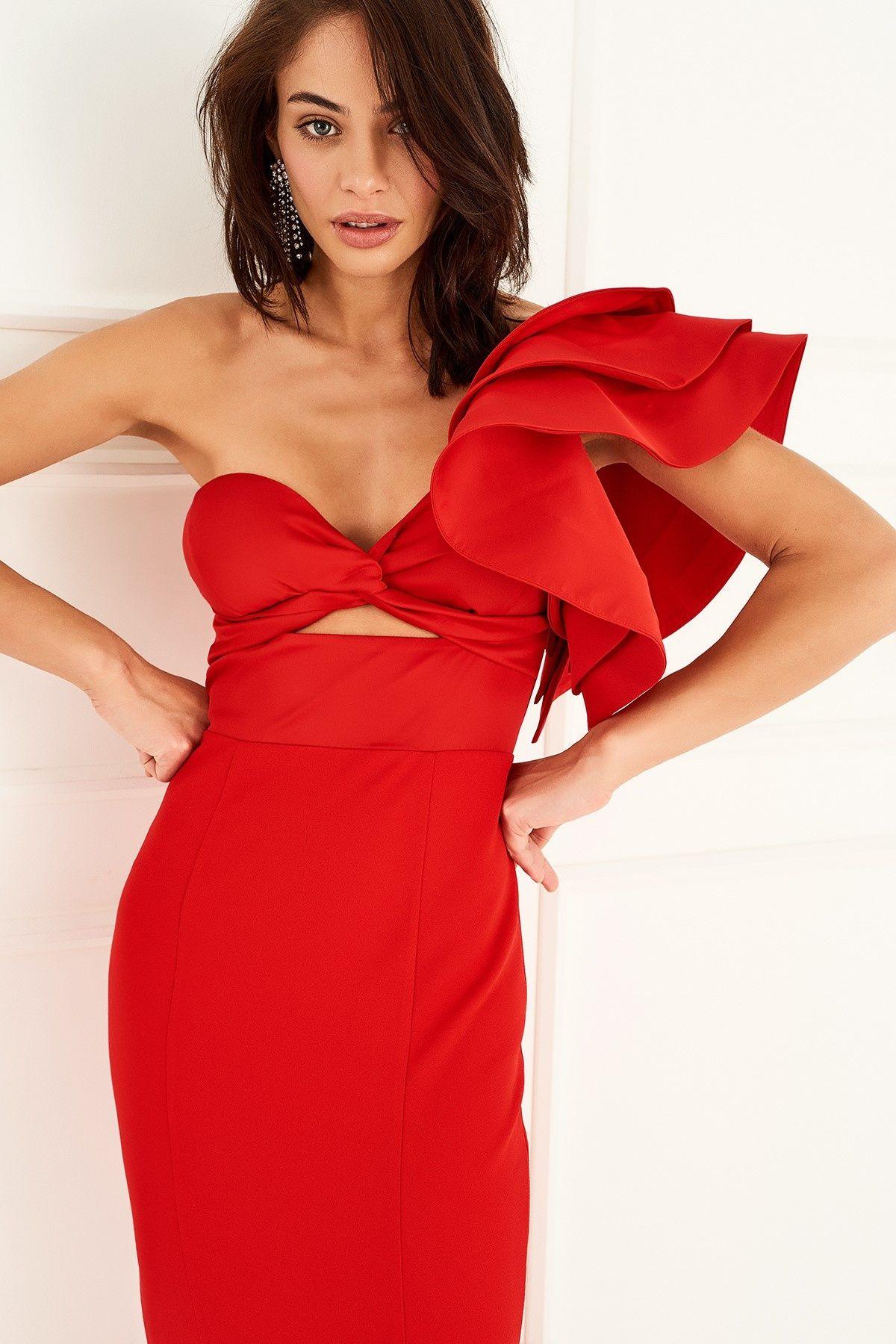 Kirmizi Tek Omuz Volanli Elbise Trendyolmilla Trendyol Goruntuler Ile Elbise Elbise Modelleri The Dress