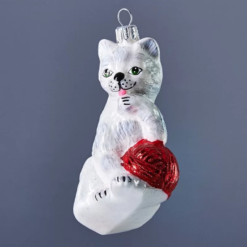 White Grey Cat With Red Ball Hanging Figurine Ornament Hand Painted Ornaments The Holiday Aisle Painted Ornaments