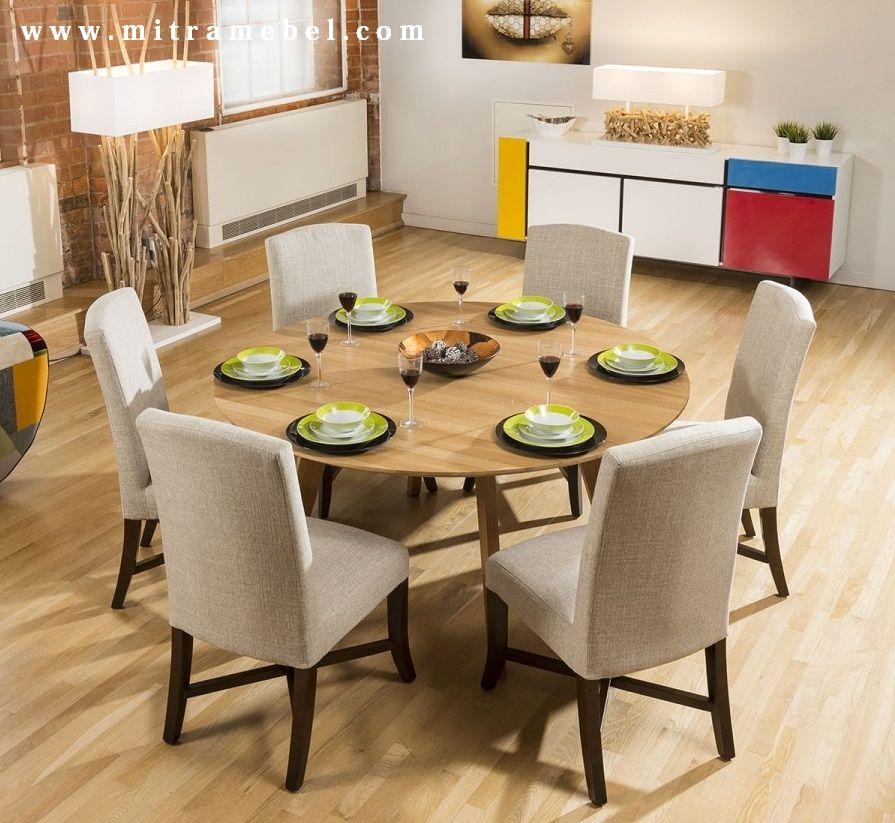 Set Meja Makan Bundar Jati Minimalis (Dengan gambar