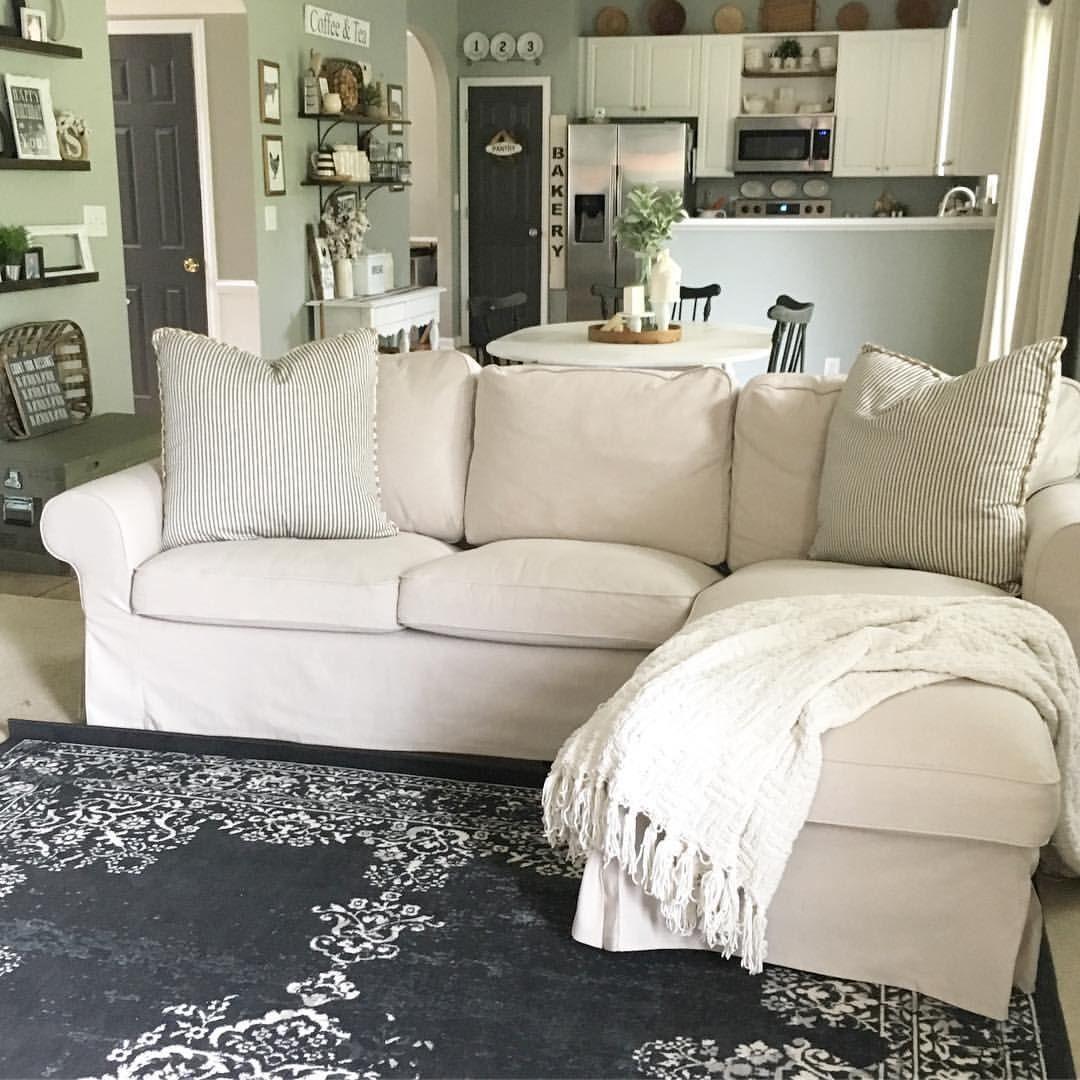 neutral living room farmhouse decor ikea ektorp vintage rug ikea pinterest living. Black Bedroom Furniture Sets. Home Design Ideas