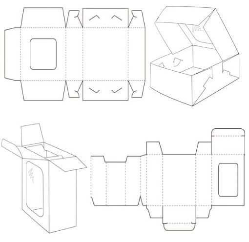 Window Style Carton Box Template  Carton Box Box Templates And