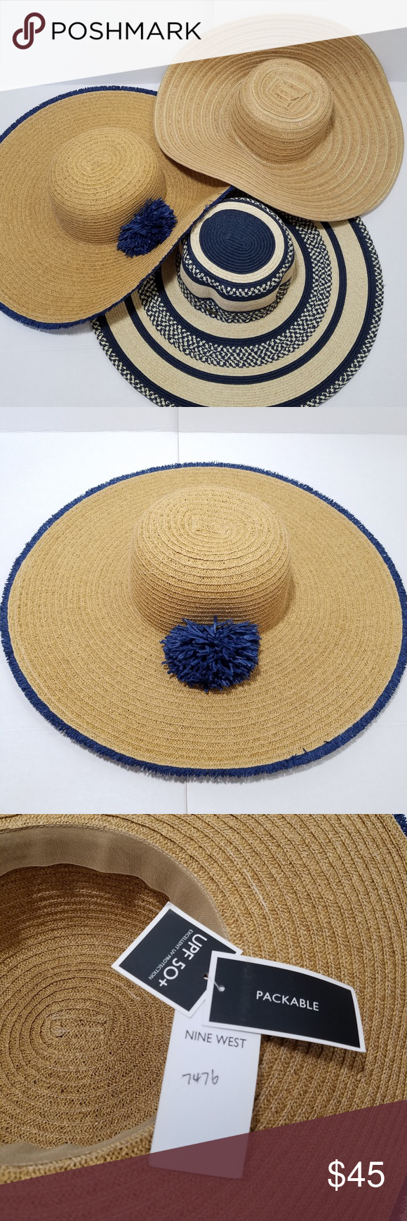 1d8bfea25 packable SPF 50 floppy beach hat Nine West NWOT This packable ...