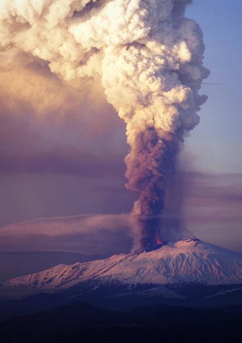 Mount Etna, Sicily - the first eruption of 2012
