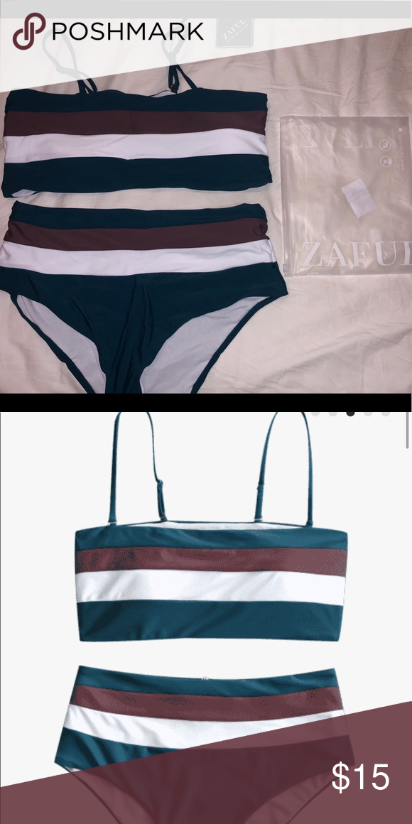 4c6691d45c Zaful Cami Striped High Waist Bikini Super comfy & cute! Fits true to size.  Never worn. Zaful Swim Bikinis