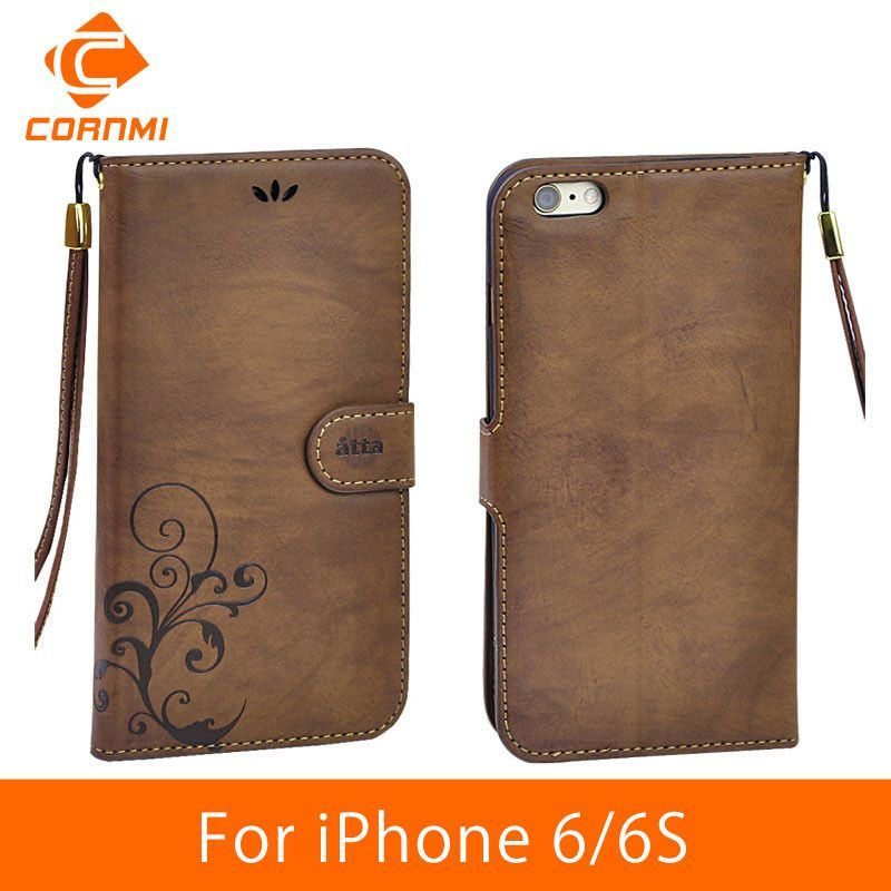"CORNMI For iPhone 6 Case Wallet Leather Vintage Flip Soft Cover Cell Phone Cases For Apple iPhone 6 6S 4.7"" Wallet Card JTH"