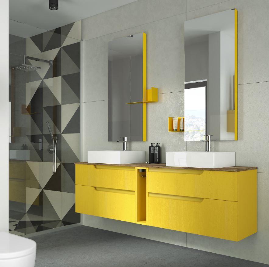 IT* Mobile bagno giallo con doppio lavabo. Dai un tocco di ...