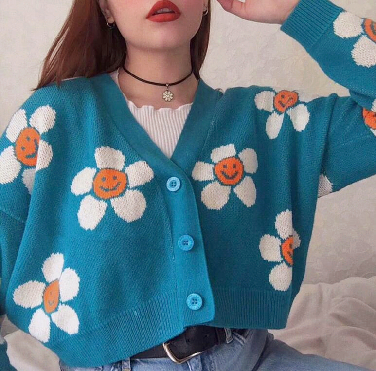 Smiley Sun Flower Blue Knit Sweater Cardigan