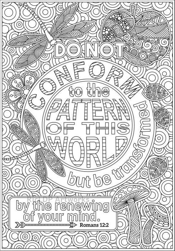 Two Bible Coloring Pages Romans 8 28 And Romans 2 12 Etsy Bible Coloring Scripture Coloring Bible Coloring Pages