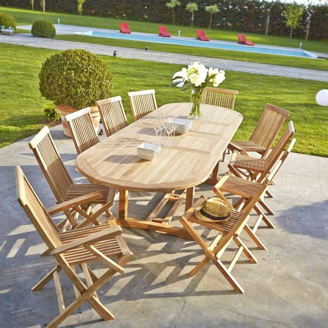 Salon de jardin 8/10 places en teck brut : table 180/240cm + 6 chaises +