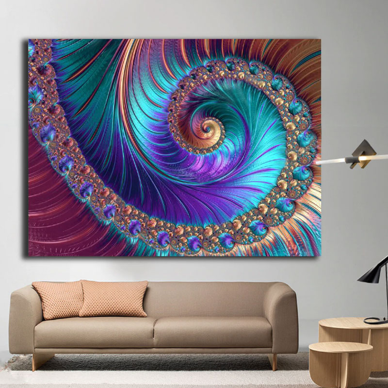 1 panel large abstract fractal patterns wall art in 2020 on canvas wall art id=25581