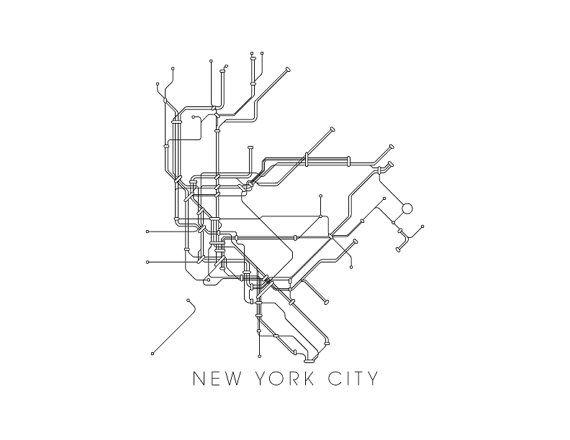 U Bahn Karte New York.New York Subway Map Print New York Metro Map Poster By Metromaps