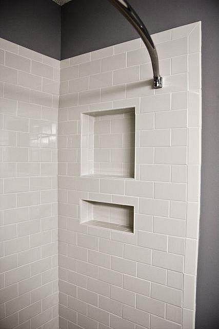 shower tile shower niche white