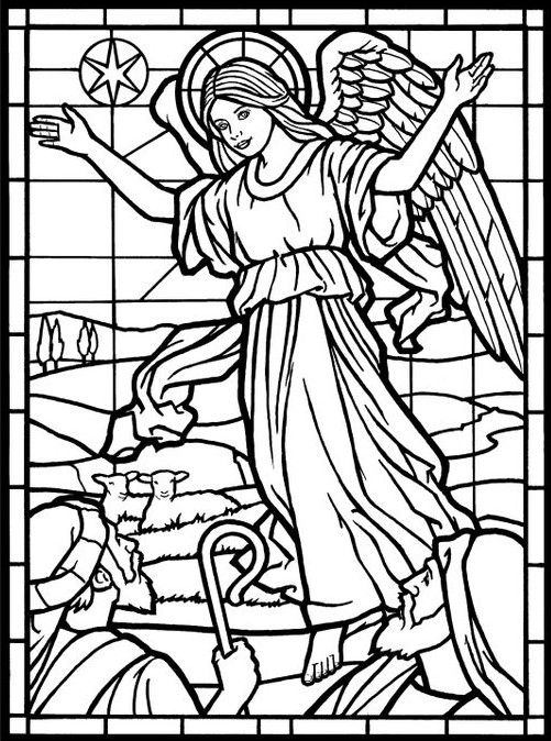 Adult coloring page from amazing angels stained glass for Stained glass coloring pages for adults