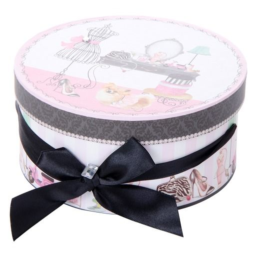 boite de rangement ronde avec nœud en tissu - esprit boudoir - 16