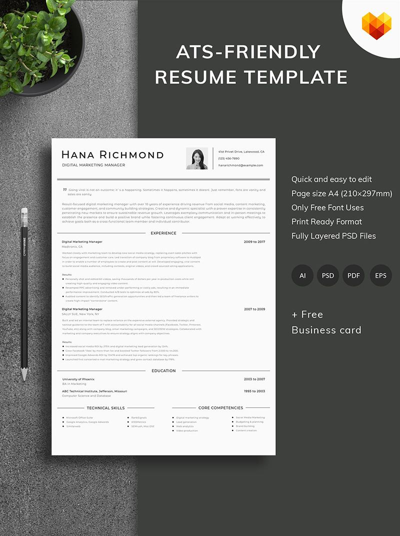 hana richmond digital marketing manager resume template example of cv in word format sample for software engineer with 3 years experience