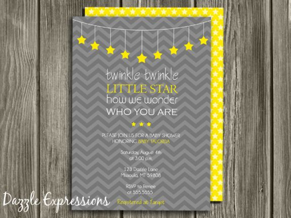 Printable twinkle twinkle little star baby shower invitation gray printable twinkle twinkle little star baby shower invitation gray and yellow invite free thank filmwisefo Gallery