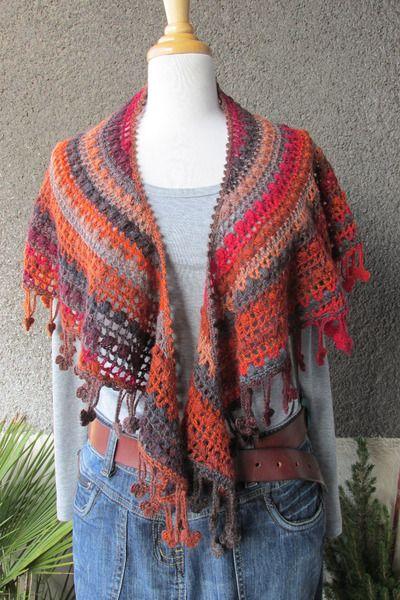 Schultertuch in Herbstfarben von Crochet4u auf DaWanda.com