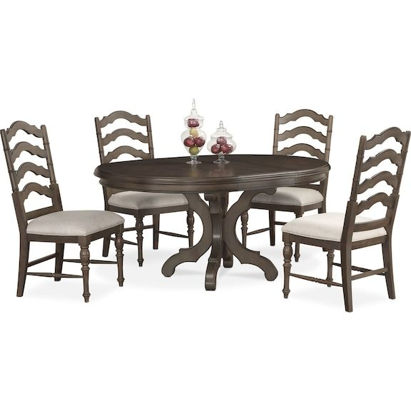 2ab48e3a47070 Charleston Round Dining Table and 4 Side Chairs - Gray