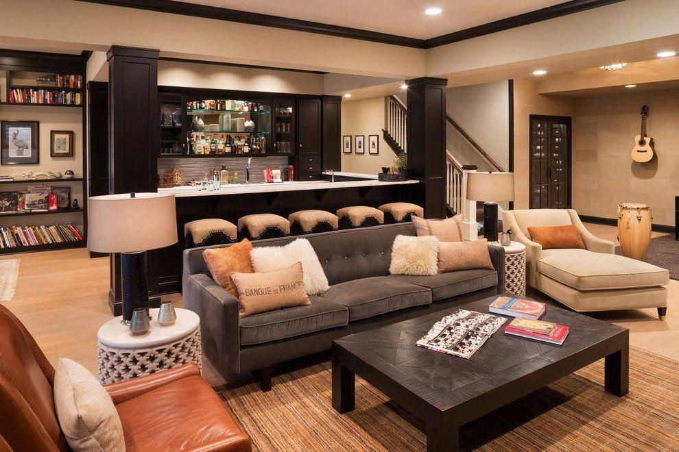 Basement Living Room Ideas | Basement Lounge Ideas | Fun Basement 20190526  | Rustic basement bar, Rustic basement, Basement remodeling
