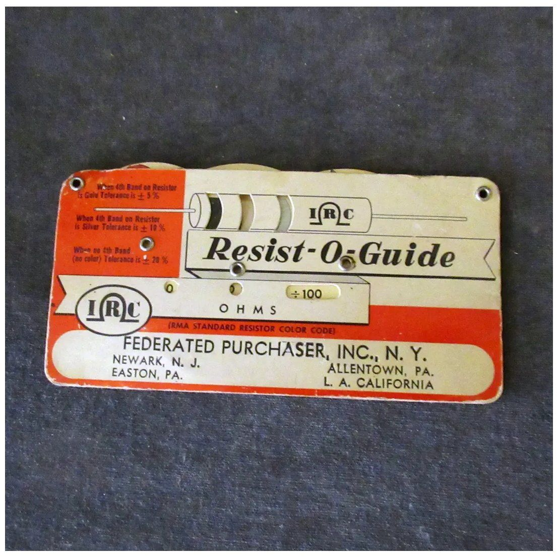 Vintage Resist O Guide For Resistor Values Rma Standard