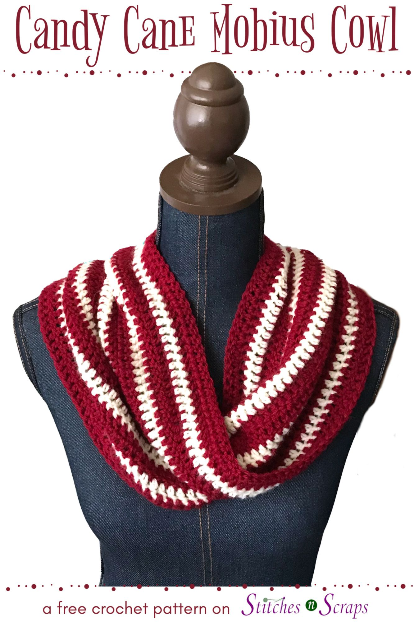 Crochet The Candy Cane Mobius Cowl