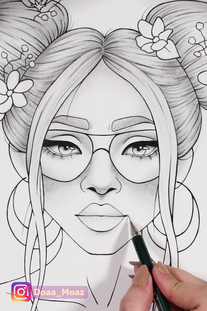 Printable coloring page girl portrait and clothes colouring sheet floral pdf adult anti-stress relaxing zentangle line art