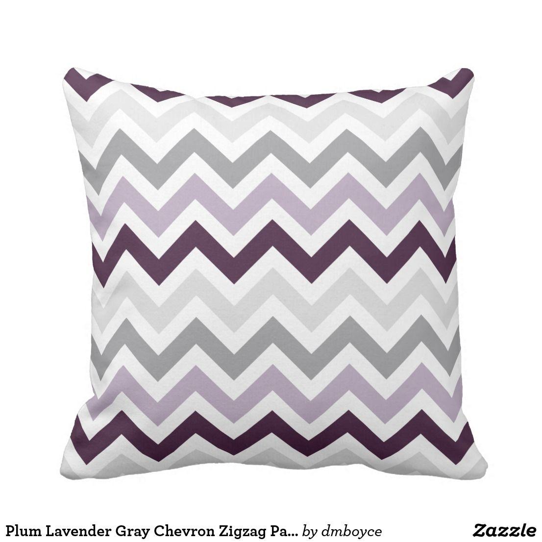Plum Lavender Gray Chevron Zigzag Pattern Throw Pillow Zazzle Com Throw Pillows Patterned Throw Pillows Grey Chevron