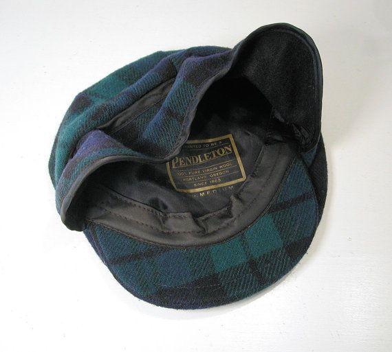 117e87e53fc58 80s Pendleton Cap Black Watch Plaid Wool Hat Wool by MisterBibs