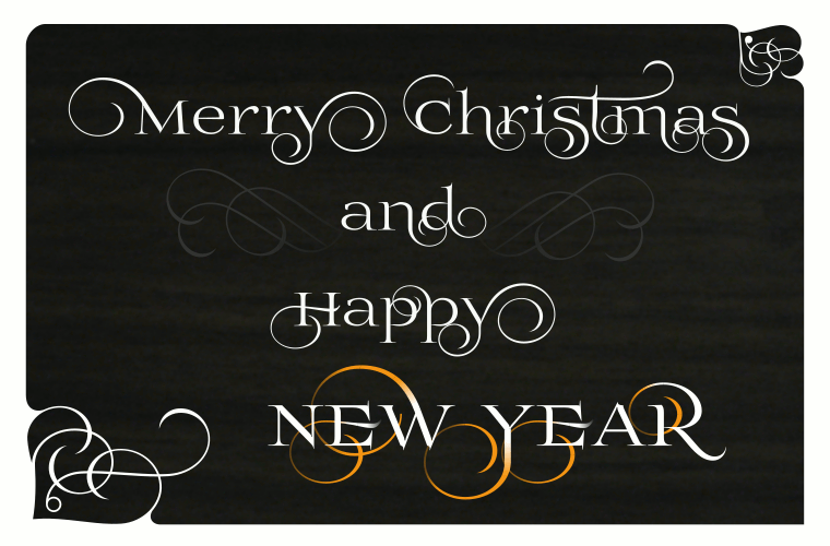 Merry Christmas and Happy New Year font Prida