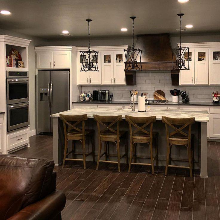 Rustic Kitchen Island Lighting Ideas: Cute Rustic Kitchen!