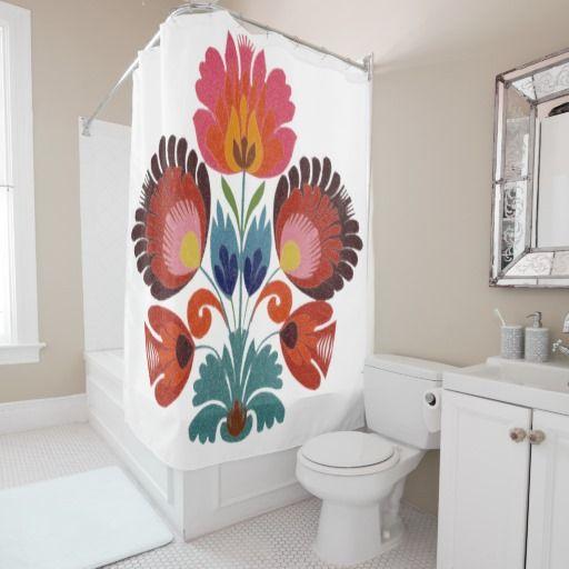 Cute Girly Bohemian Flowers Shower Curtain