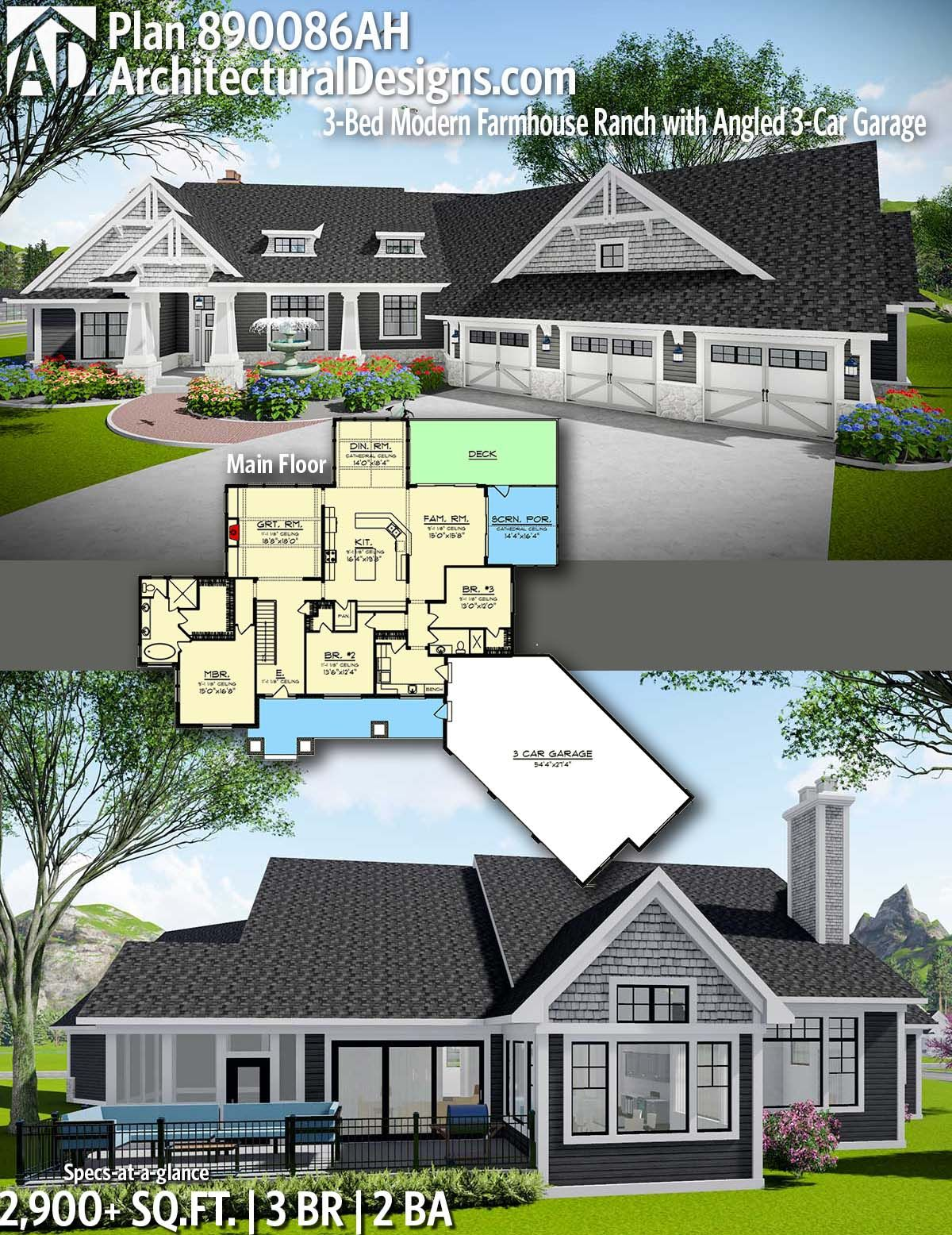 Plan 890086ah 3 Bed Modern Farmhouse Ranch With Angled 3 Car Garage Ranch Style House Plans Modern Farmhouse Exterior House Plans