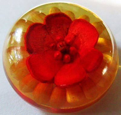 Back Carved and Painted Floral Bakelite Button.