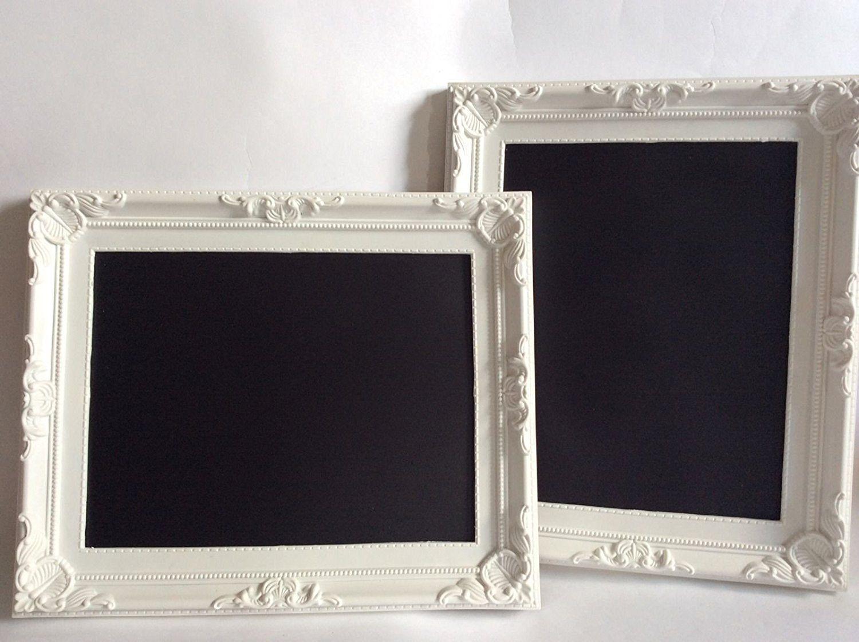 shabby chic white framed chalkboard blackboard by theheavypeach - White Framed Chalkboard