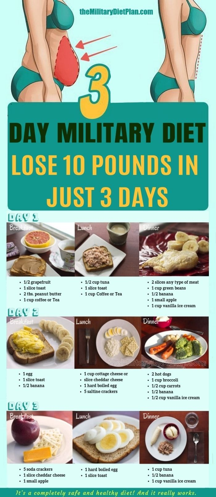 3 Day Military Diet To Lose 10 Pounds In 3 Day Diet Loss Military Diet Effective Diet
