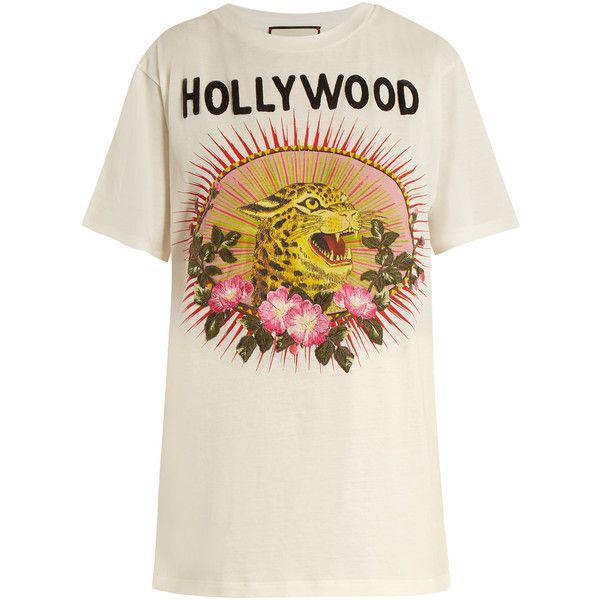 52e6cf928 Gucci Hollywood Leopard-print cotton oversized T-shirt (€830) ❤ liked on  Polyvore featuring tops, t-shirts, white multi, white cotton t shirts,  leopard t ...