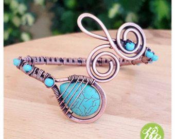 Woven wire cuff bracelet copper wire bracelet by FromRONIKwithLove